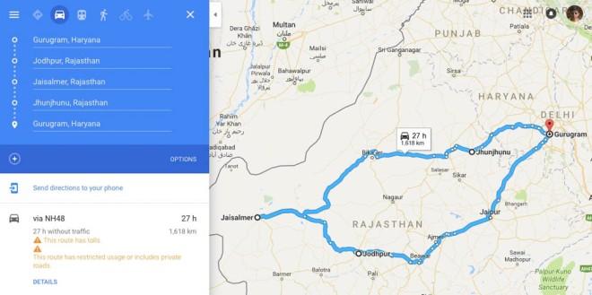 Gurgugram Jodhpur Jaisalmer route